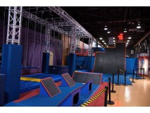 Bungee jumping on trampoline park