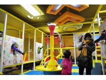 Kids explore at Indoor play equipment