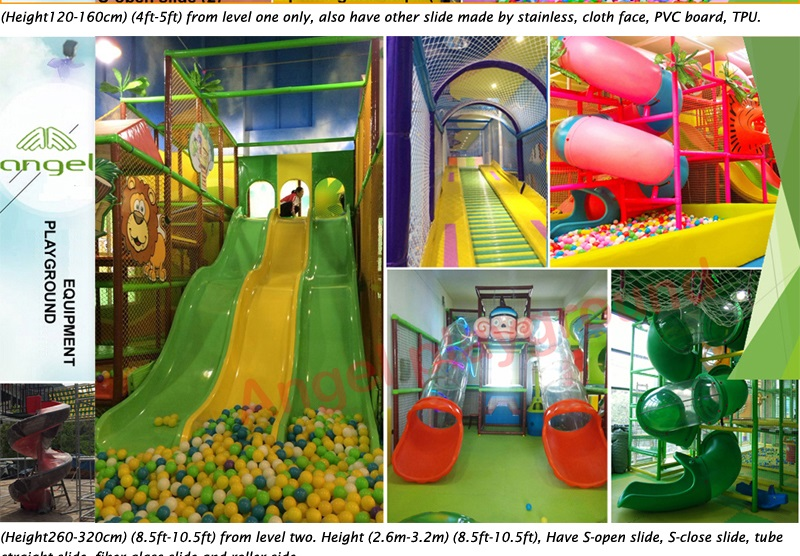 slides for second floor of indoor playground equipment