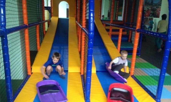 roller slides in indoor play area